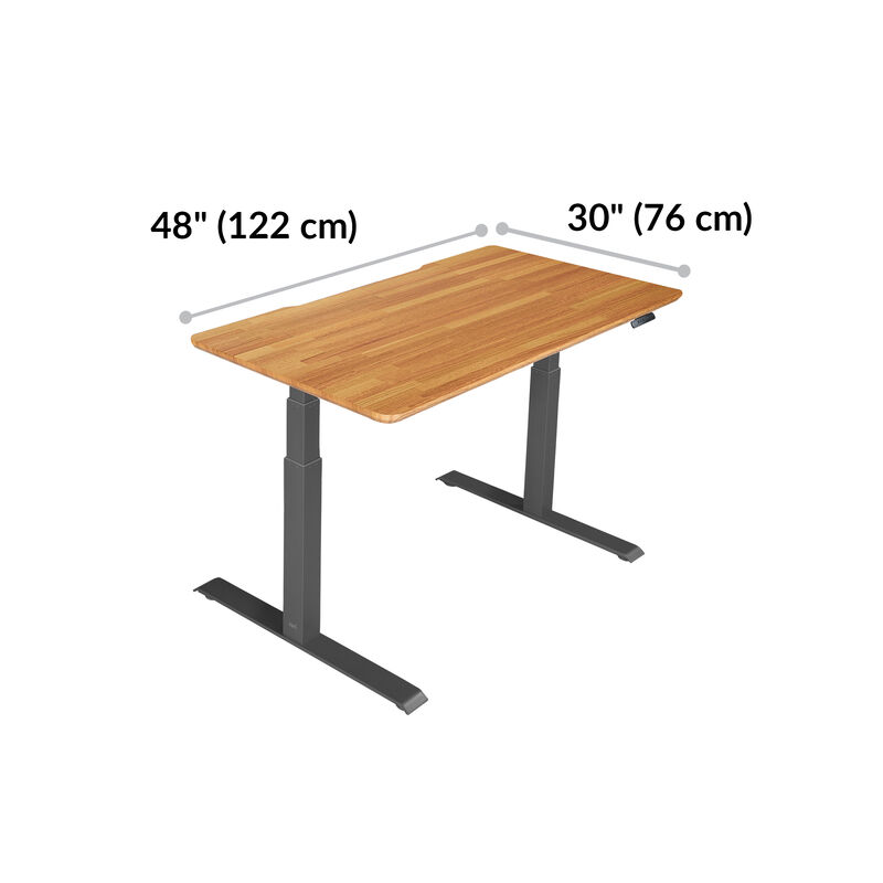Electric Standing Desk 48x30 Butcher Block is 30 inches deep and 48 inches wide image number null