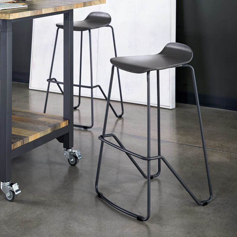 Wood Conference Stool Dark Gray in office image number null