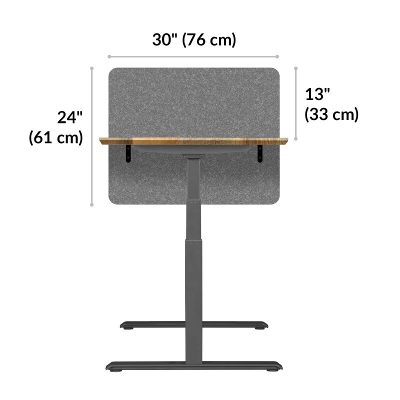 Vari privacy and modesty felt panel 30 24 inches tall, 30 inches wide, and sits 13 inches above desk top when mounted image number null