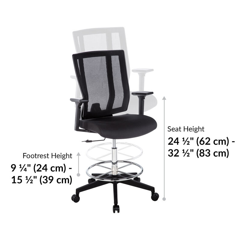 vari drafting chair seat height is 24 and a half inches to 32 and a half inches image number null