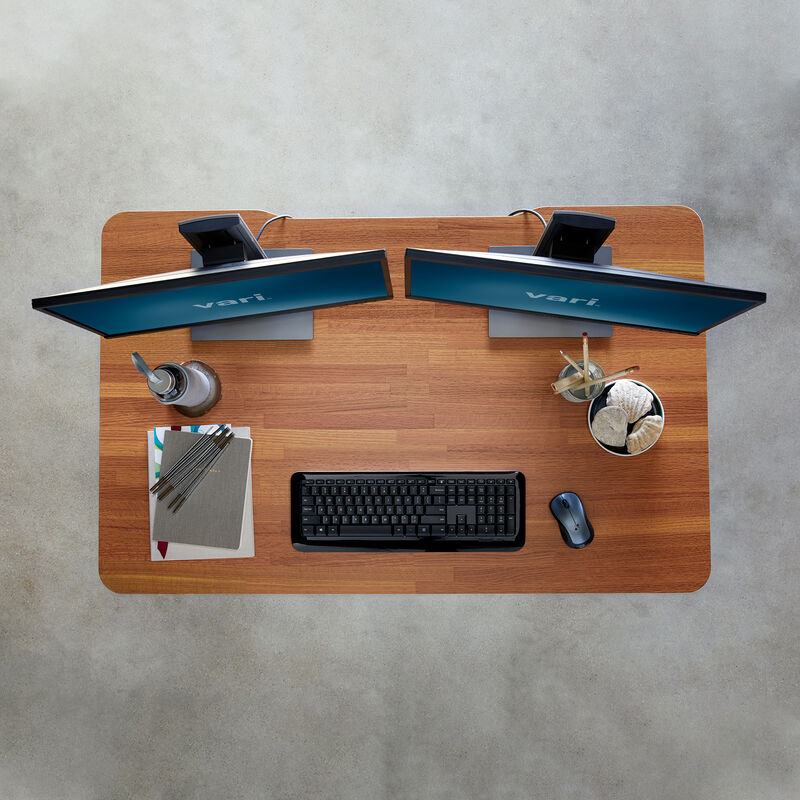 Overhead view of Electric Standing Desk 48x30 Butcher Block image number null