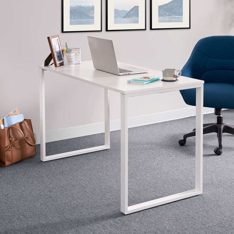 Essential Desk 48x24 Two Leg in ash wood in office setting image number null