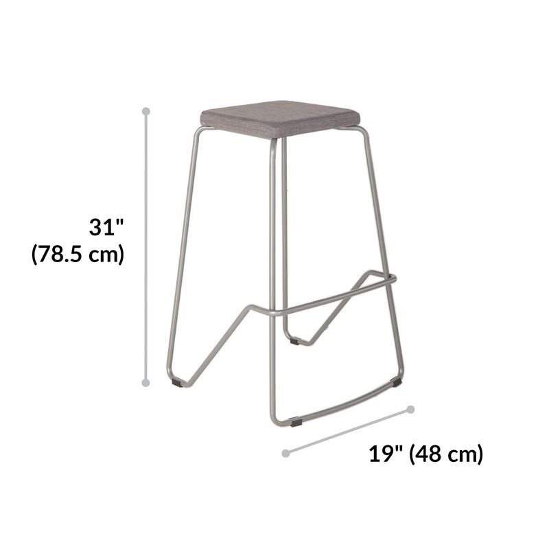 Meeting Stool in slate is 31 inches high, 19 inches wide image number null
