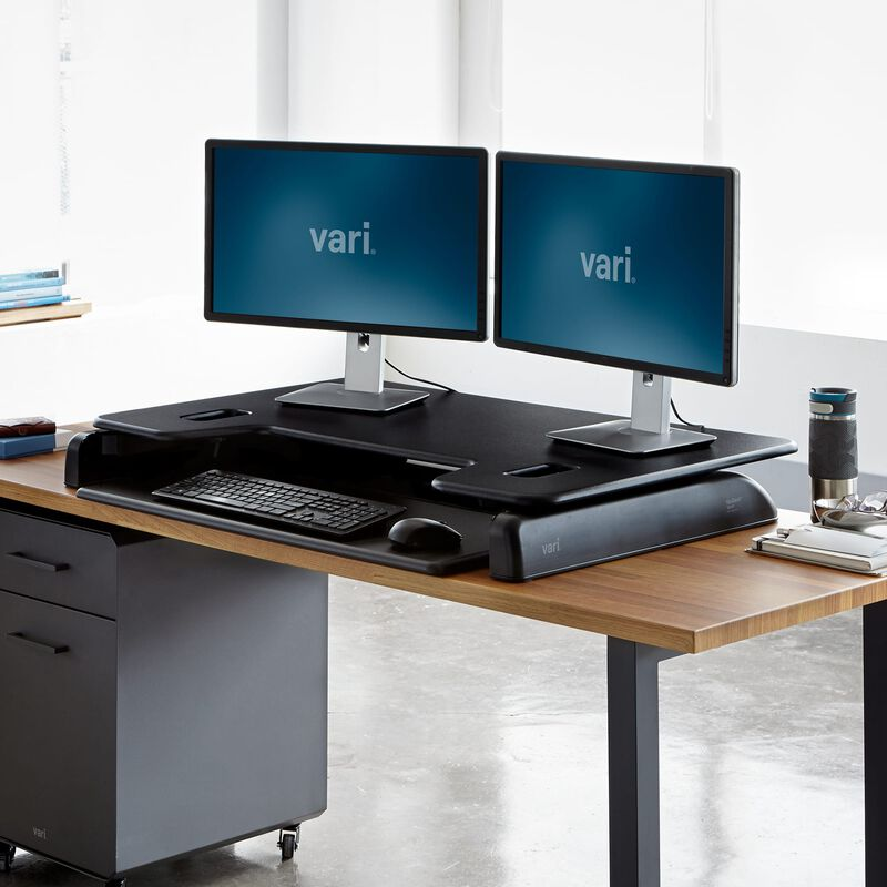 VariDesk® Tall 40 Black in lowered position at office image number null
