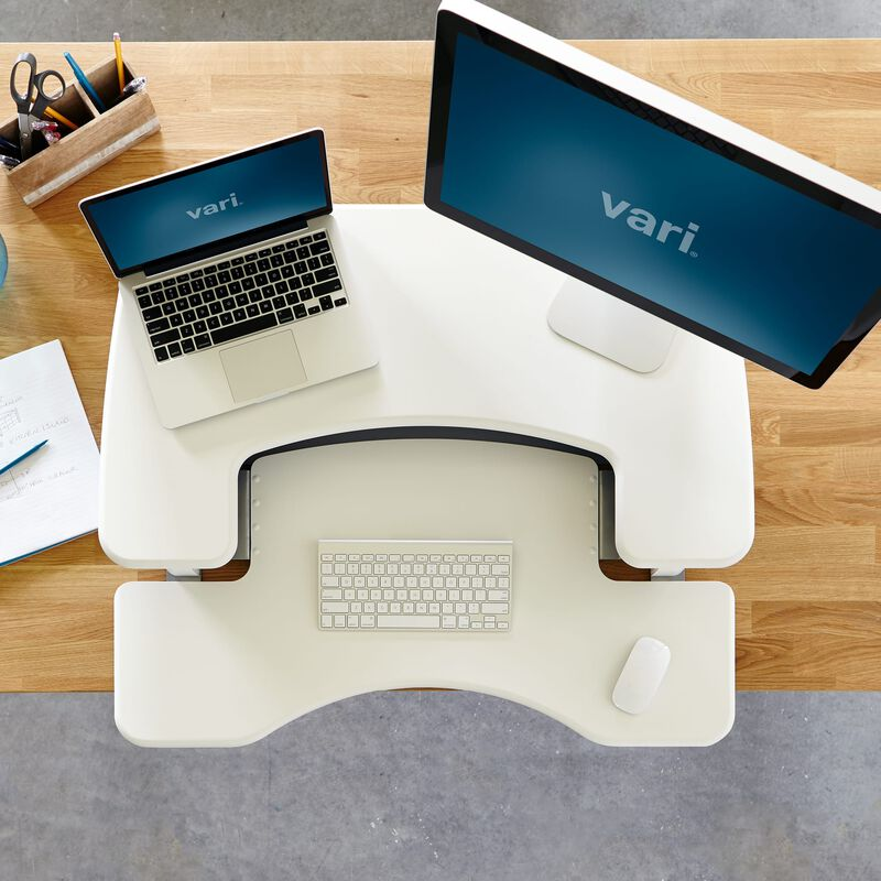 Overhead view of VariDesk® Pro Plus™ 36 White sit-stand desk converter image number null