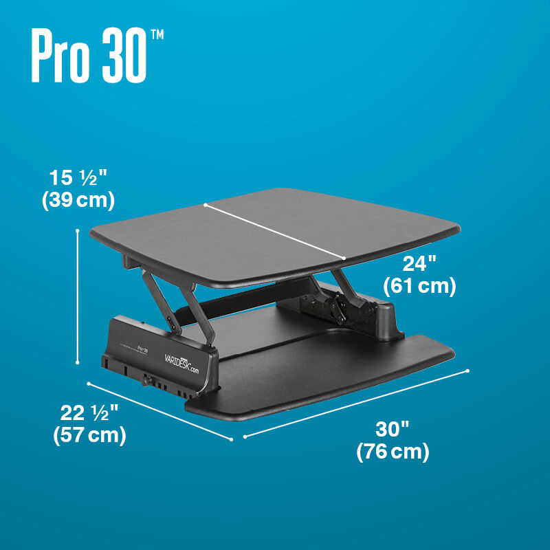 VariDesk Pro 30 Black depth of desk base is 22 and a half inches deep image number null