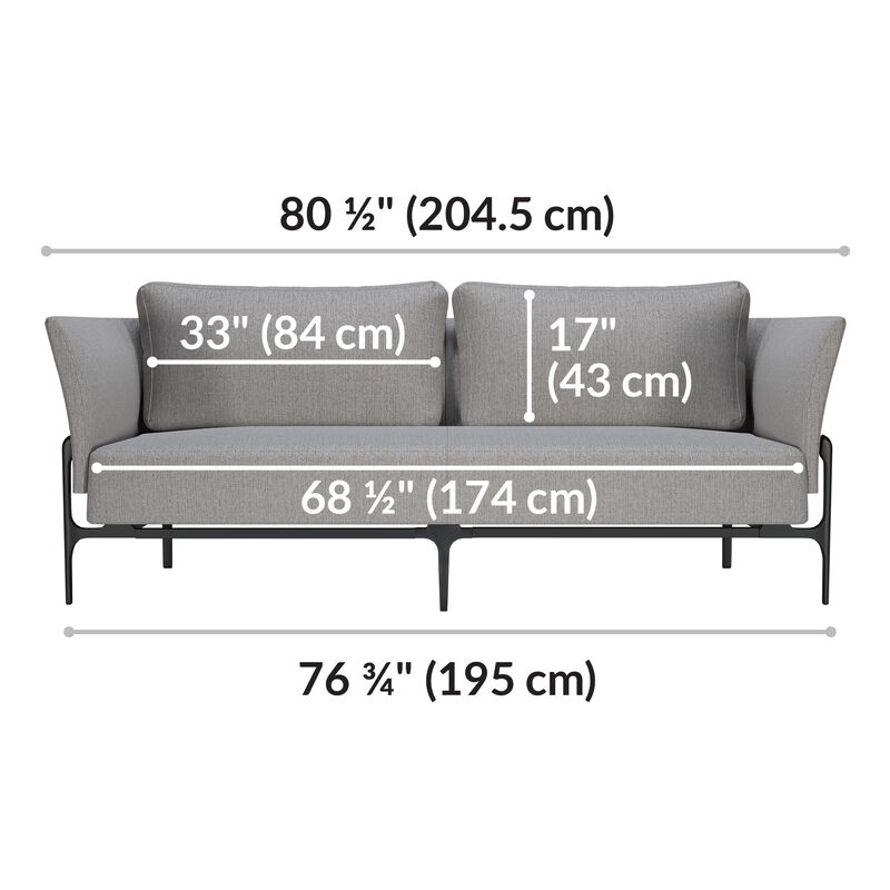 contemporary three-seat sofa in silver grey is eighty and a half inches long image number null