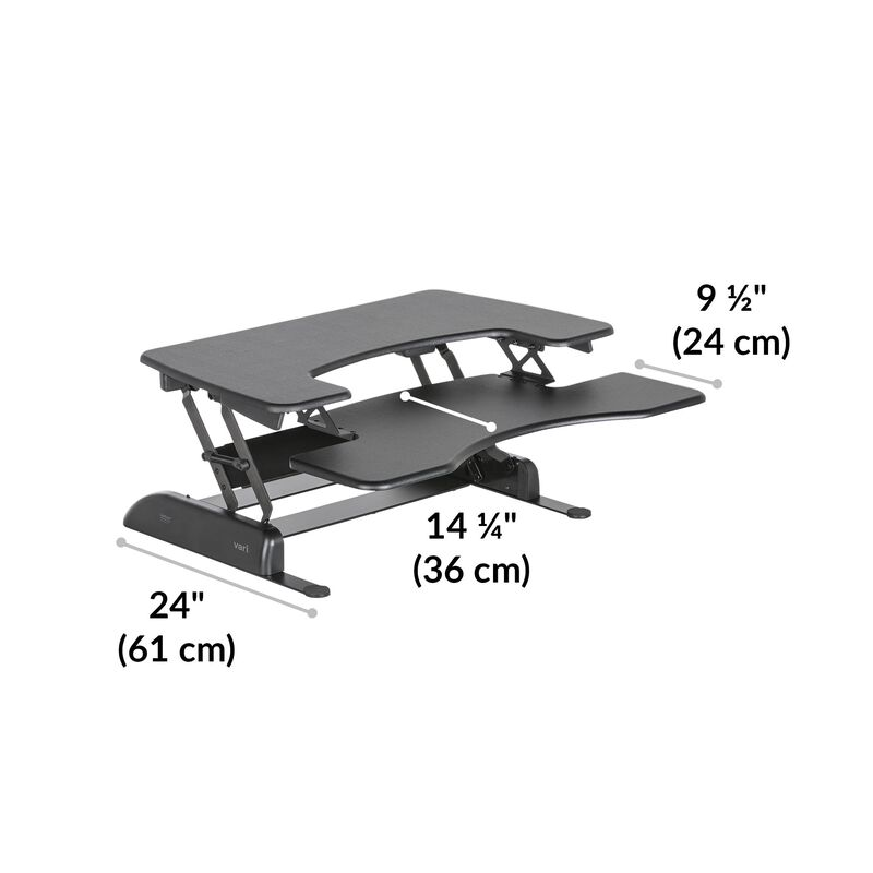 VariDesk® Pro Plus™ 36 Black depth of desk base is 24 inches image number null