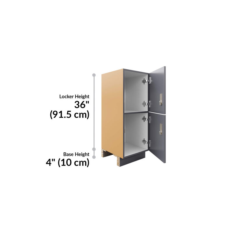 low locker is 36 inches tall and base is 4 inches tall image number null