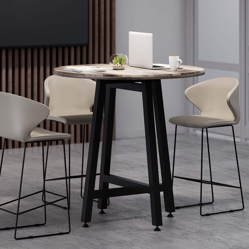 sand grey tall cafe chair around standing round table in lounge setting image number null