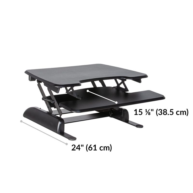 varidesk basic 30 in black is twenty-four inches deep and the keyboard tray is just over fifteen inches deep image number null
