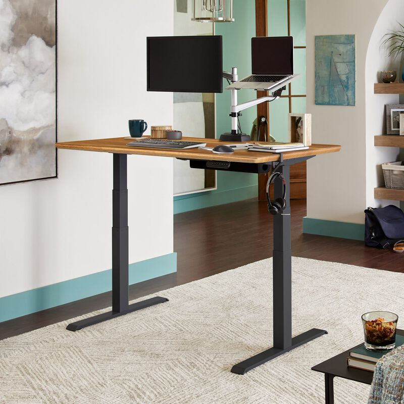 Electric Standing Desk 60x30 Butcher Block in raised position at home image number null