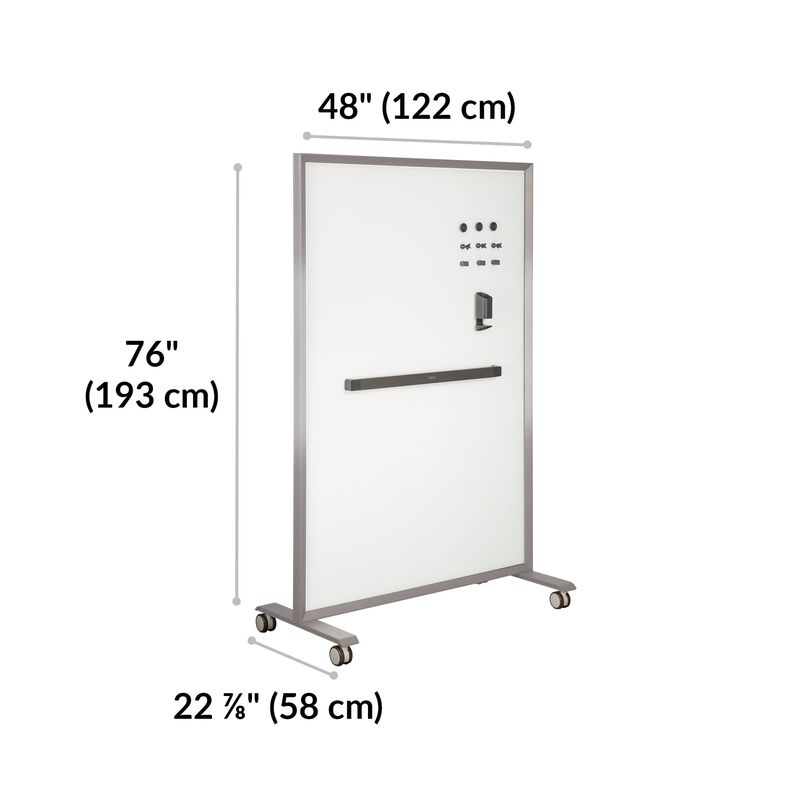 Mobile Glass Board 48x76 Silver is 48 inches wide, 76 inches tall, and 22.8 inches wide image number null