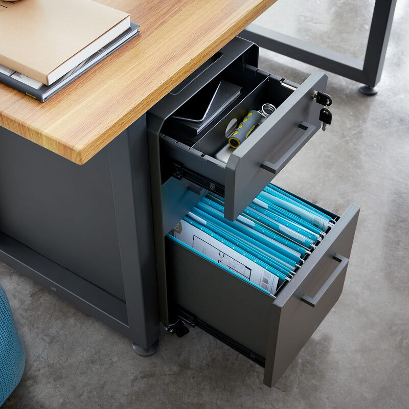 Slim File Cabinet Slate under desk in office with top and bottom drawers open image number null