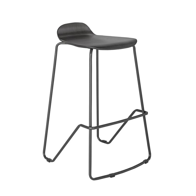 Wood Conference Stool Dark Gray on white background image number null
