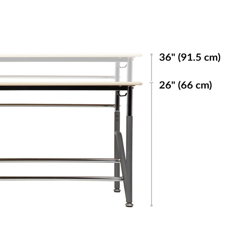 Standing School Desks for Two K-5 Maple base is 19.5 inches deep image number null