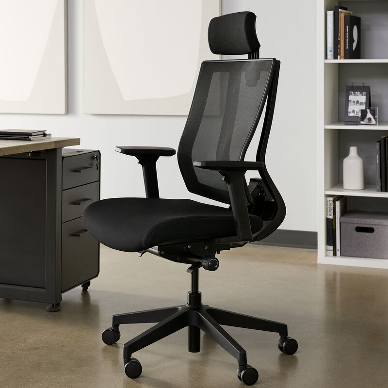 vari task chair with headrest in office image number null