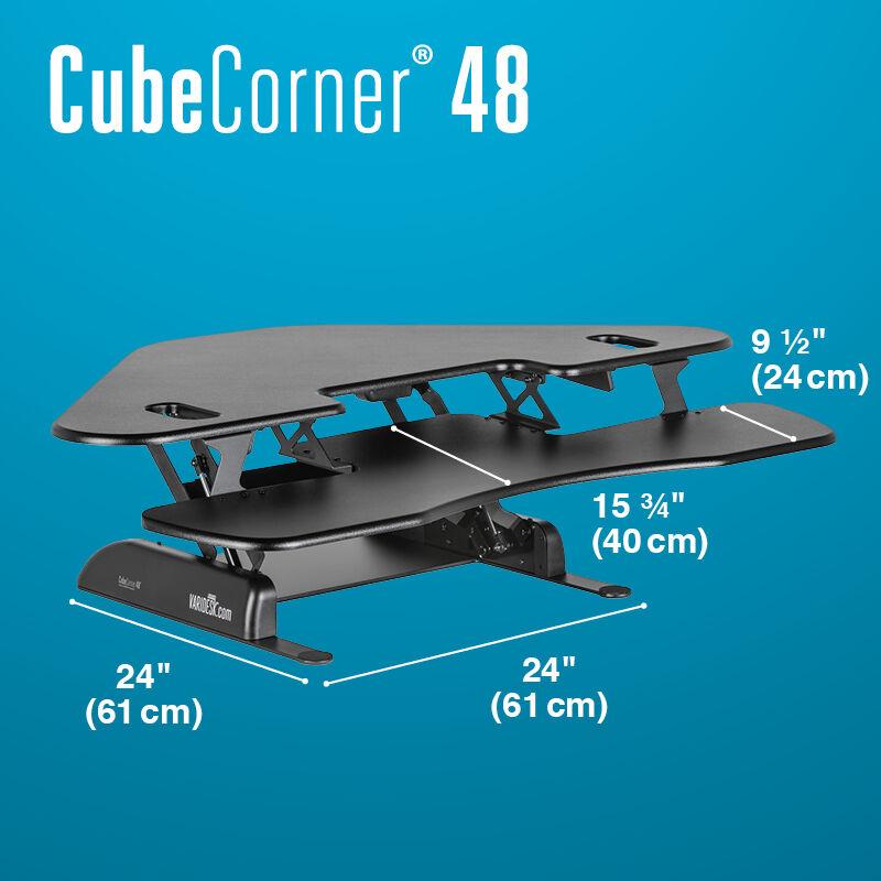 VariDesk Cube Corner 48 Black sit-stand desk converter base is 24 inches deep image number null