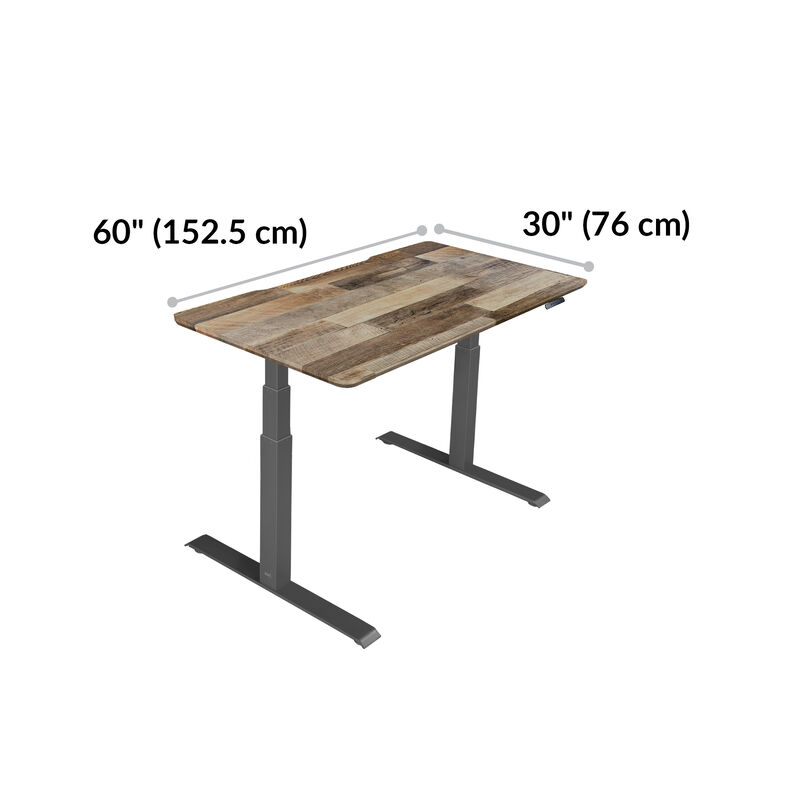 Electric Standing Desk 60x30 Reclaimed Wood base is 30 inches deep and 60 inches wide image number null