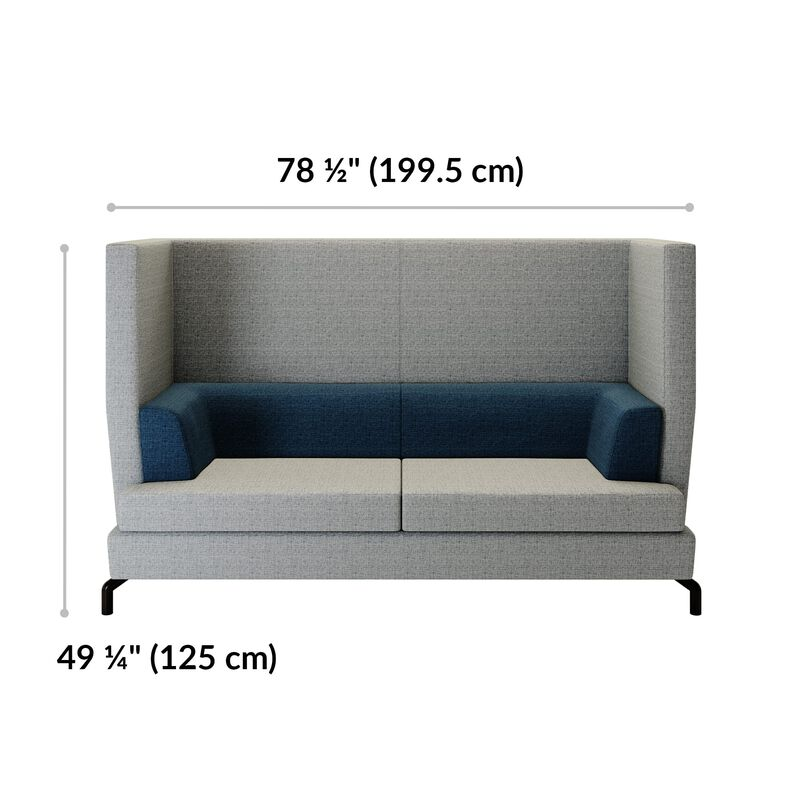 fabric high back sofa is 78 and a half inches wide and 49 and a quarter inches tall image number null