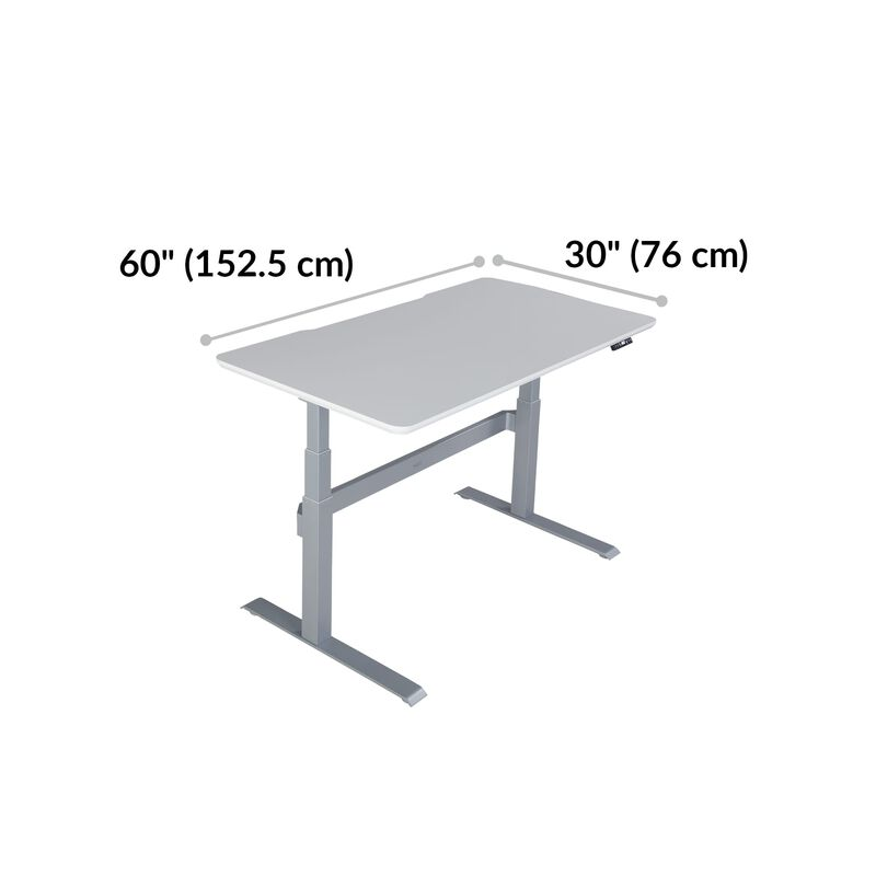 Electric Standing Desk 60x30 White base is 30 inches deep and 60 inches wide image number null