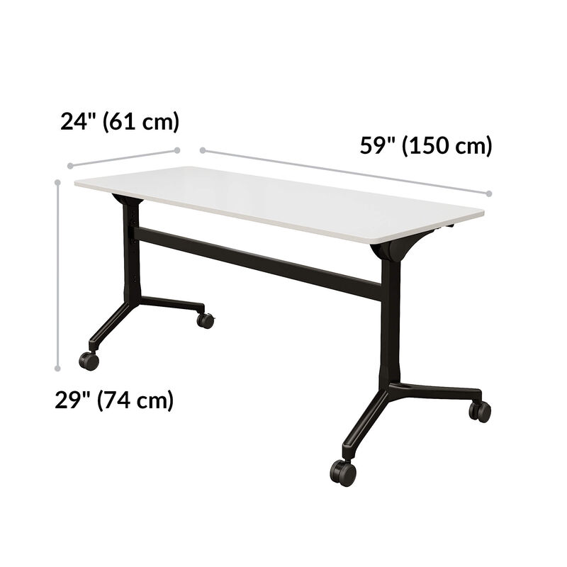 flip top training table 5 ft in white is 60 inches wide and 24 inches deep. Height is 29 inches image number null