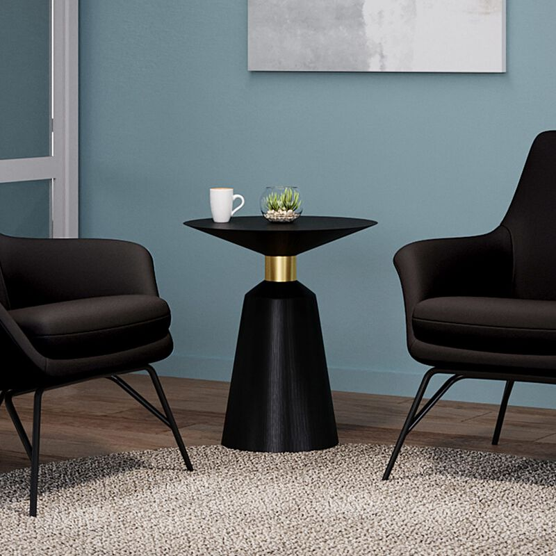 pedestal side table in black in office setting image number null