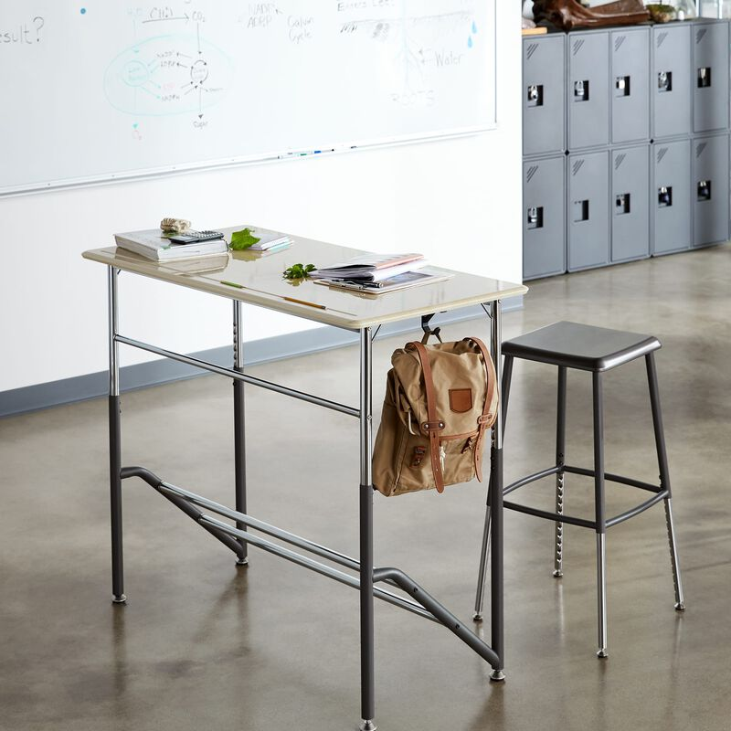 Standing School Desks for Two 5-12 Maple in classroom at school image number null