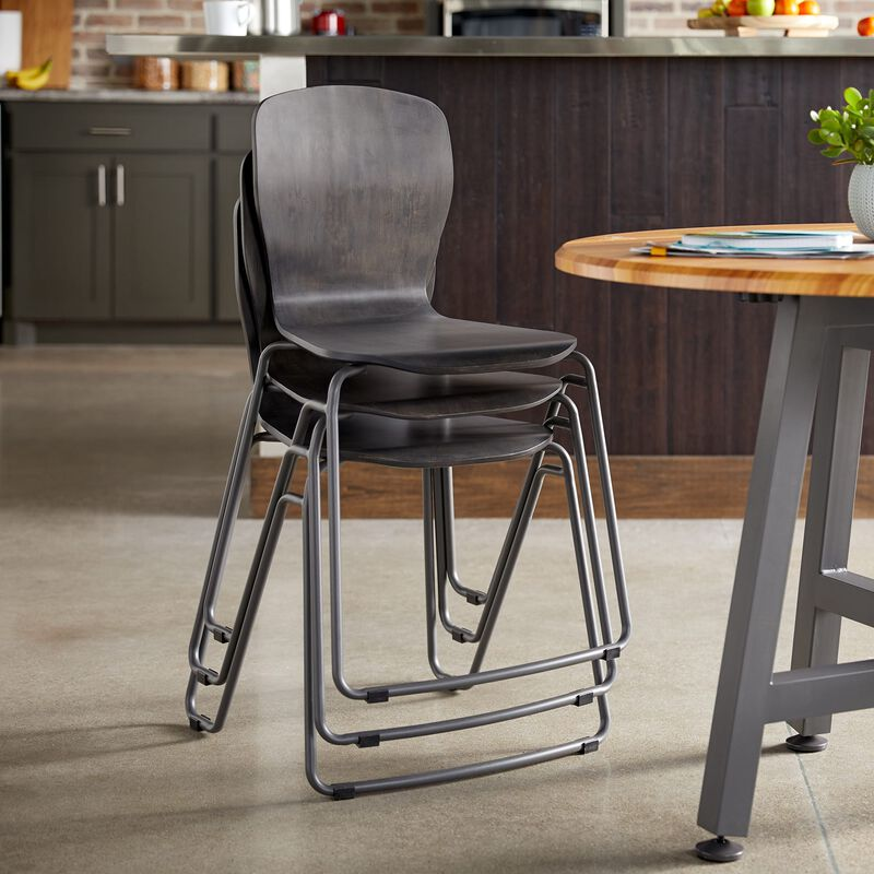 Wood Chair in Dark Gray stacked in office image number null