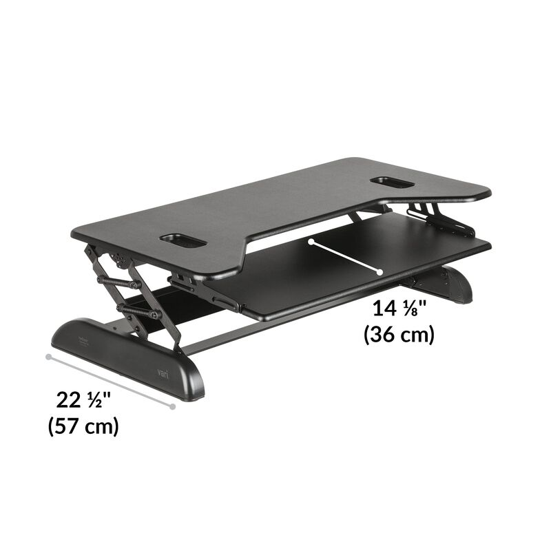 VariDesk® Cube Plus® 40 Black base is 22.5 inches deep image number null