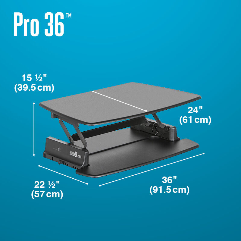 VariDesk Pro 36 Black depth of desk base is 22 and a half inches deep image number null