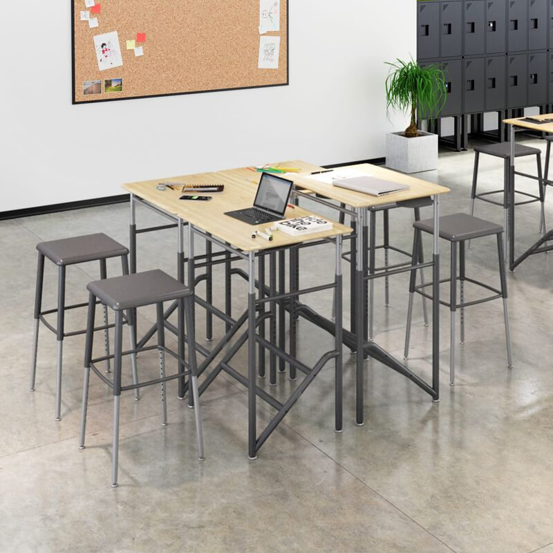 Adjustable Standing School Desks 5-12 Maple grouped together in classroom at school image number null