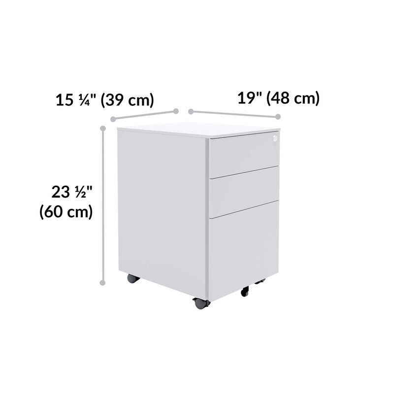 essential file cabinet is 23 and a half inches tall, 15 and a quarter inches wide, and 19 inches deep image number null