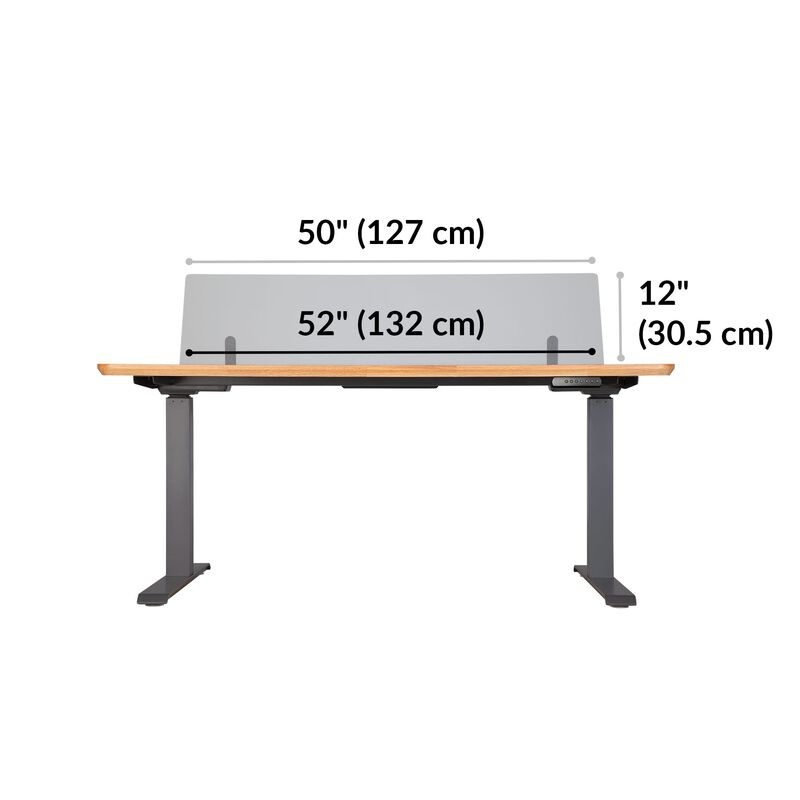 Acrylic Modesty Privacy Panel for the Electric Standing Desk 60 in Frosted Acrylic dimensions, 52 inches wide, 12 inches off desktop in the upward position image number null