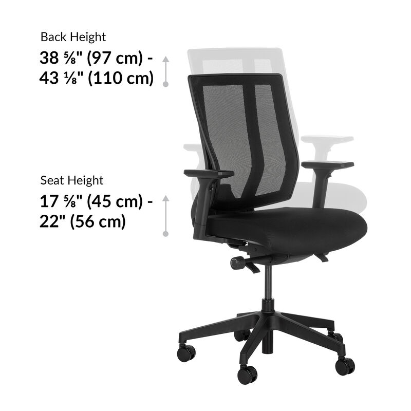 vari task chair seat height is 17 to 22 inches image number null