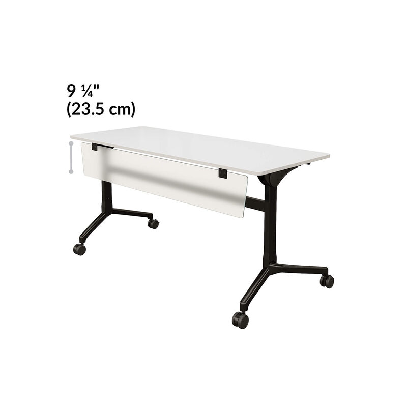 flip top training table modesty panel length is 9 and a quarter inches image number null
