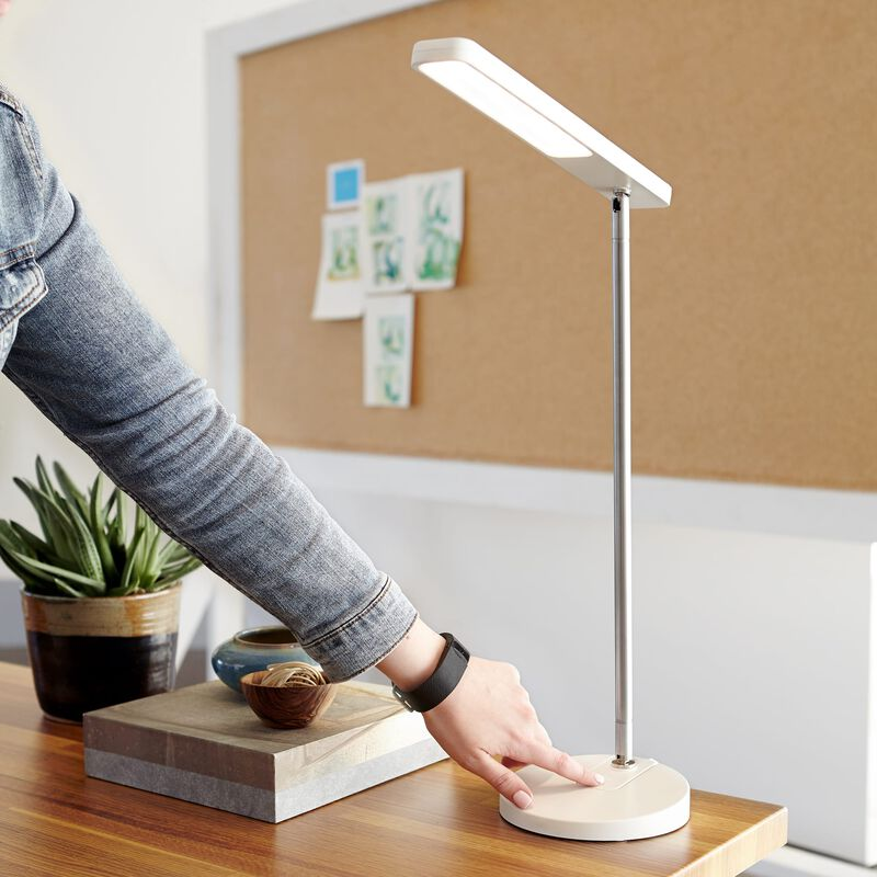 LED Task Lamp White in office on desk with user changing brightness level image number null