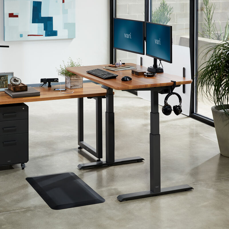 Electric Standing Desk 48x30 Butcher Block in raised position at office image number null