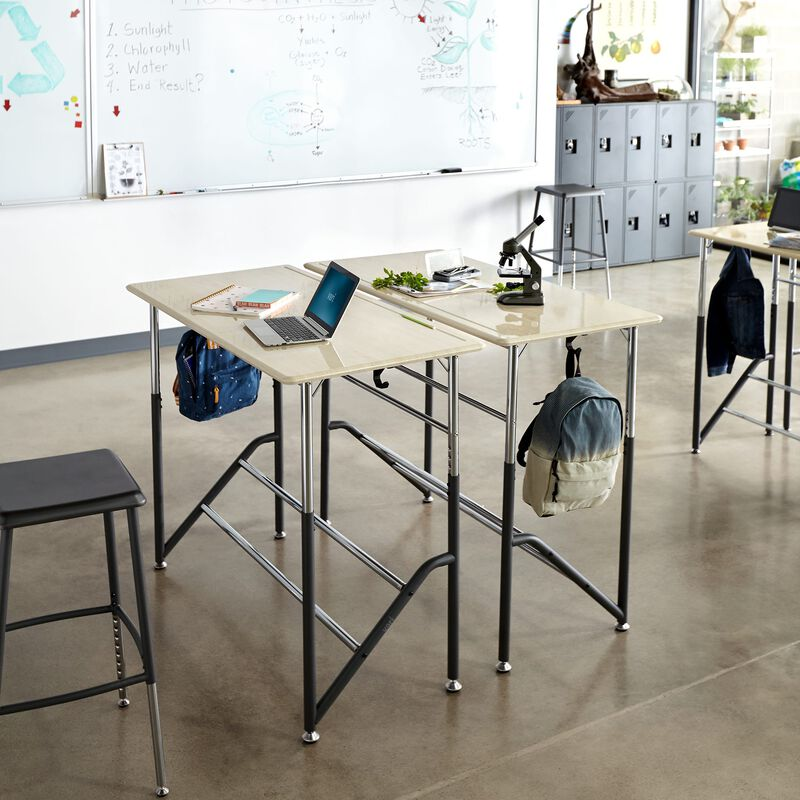 Group of Standing School Desks for Two 5-12 Maple in classroom at school image number null