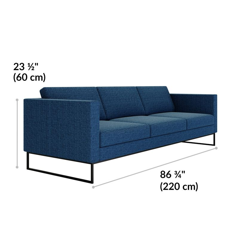 three-seat sofa in navy is twenty-three and a half inches tall image number null