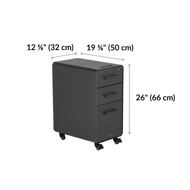 Slim File Cabinet Slate is 26 inches tall image number null