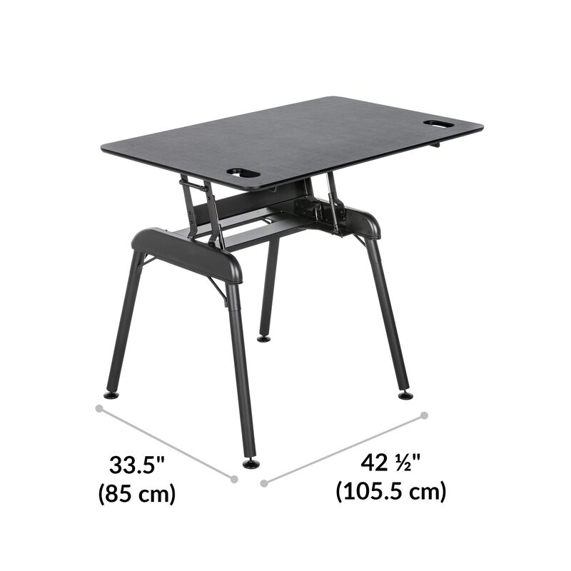 Standing Desk 48x32 Black base is 33.5 inches deep and 42.5 inches wide image number null