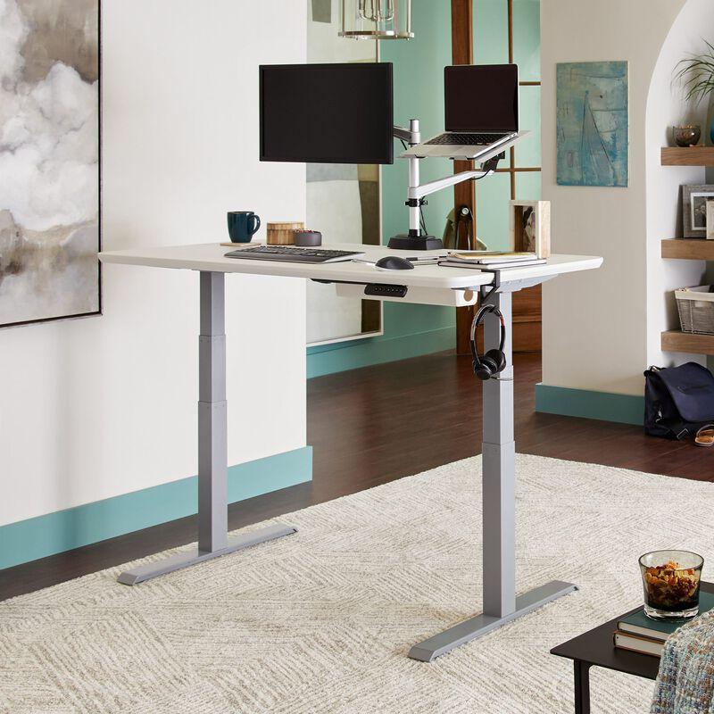 Electric Standing Desk 60x30 white in raised position at home image number null