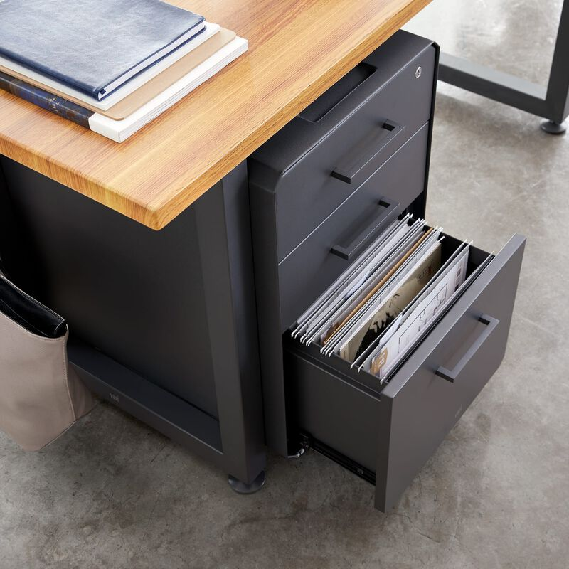 File Cabinet Slate under desk with bottom drawer open image number null