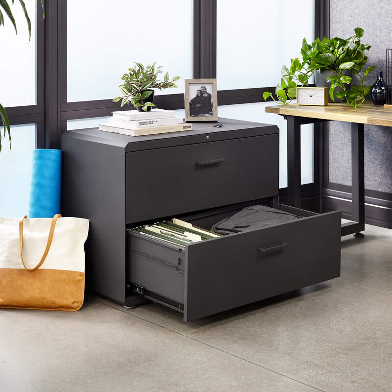 vari lateral file cabinet with open drawer in office image number null