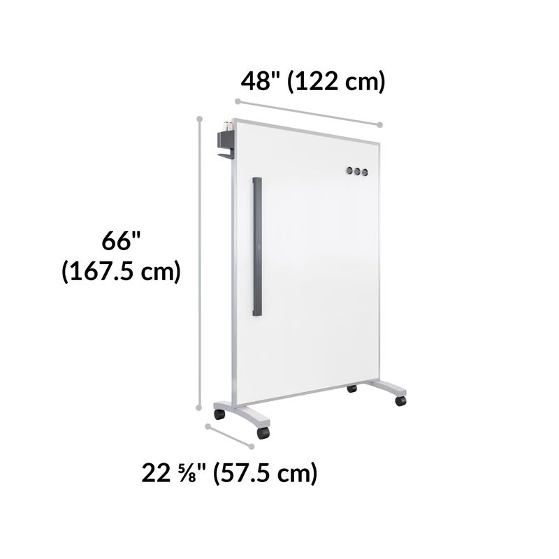 Mobile White Board 48x66 is 48 inches wide, 66 inches deep, 22.6 inches wide image number null