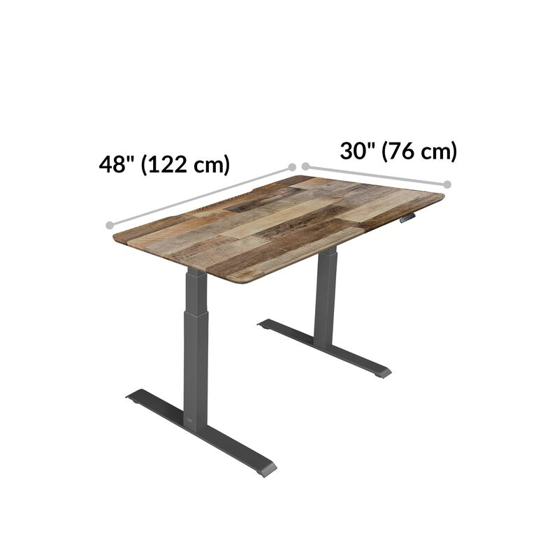 Electric Standing Desk 48x30 Reclaimed Wood is 30 inches deep and 48 inches wide image number null