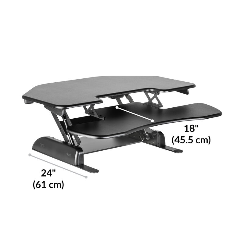 VariDesk® Cube Corner® 36 base is 24 inches deep image number null
