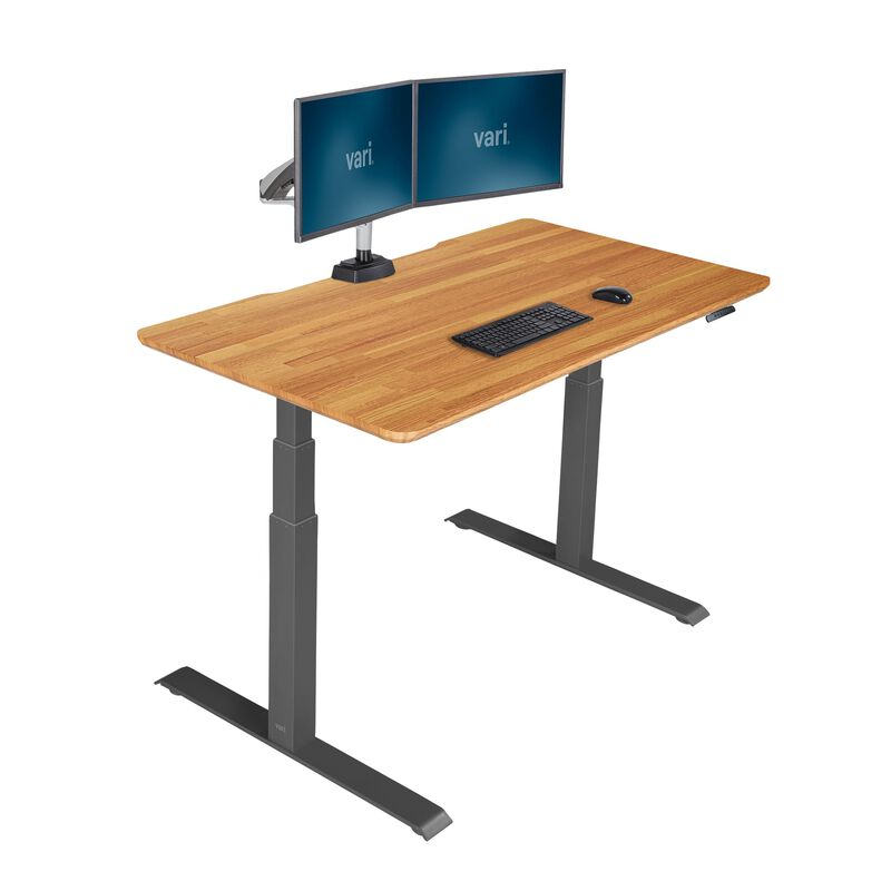 vari electric standing desk 60x30 in butcher block image number null