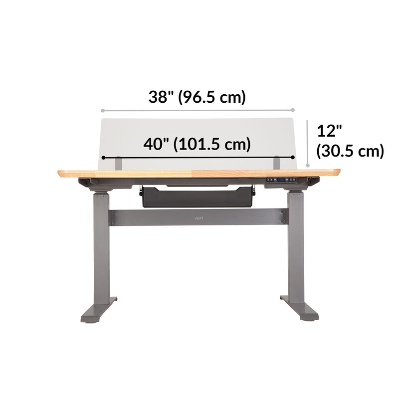 Acrylic Modesty Privacy Panel for the Electric Standing Desk 48 in Frosted Acrylic dimensions, 38 inches wide image number null